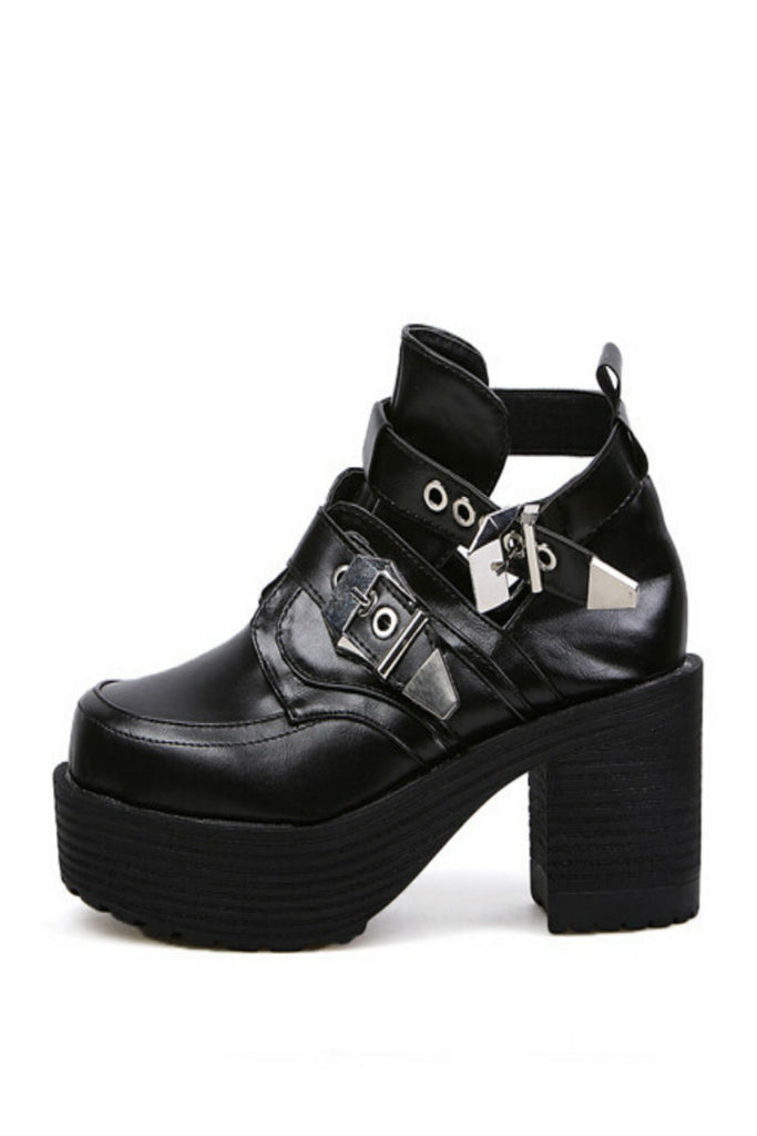 Black Punk Motorcycle Heels