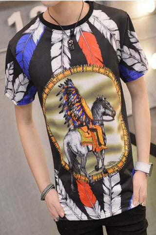 Black Ethnic Feather Printed Short Sleeve T-shirt