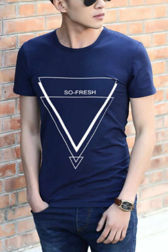Navy Triangle Printed Short Sleeve T-shirt