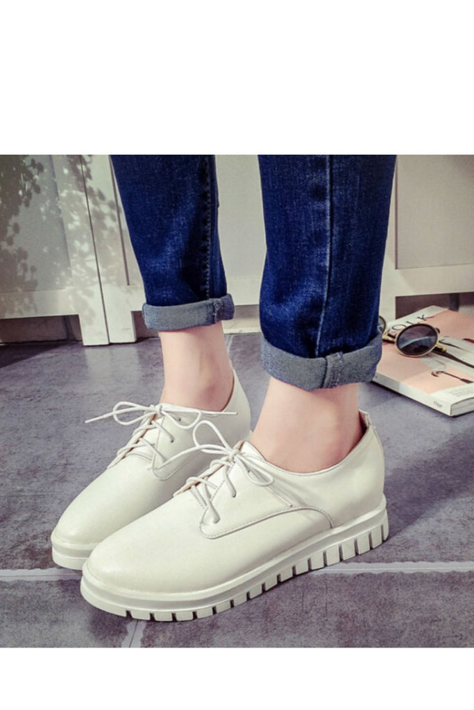 White Lace Up Casual Creepers