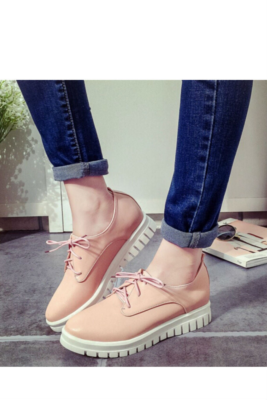 Pastel Pink Round Toe Sneakers