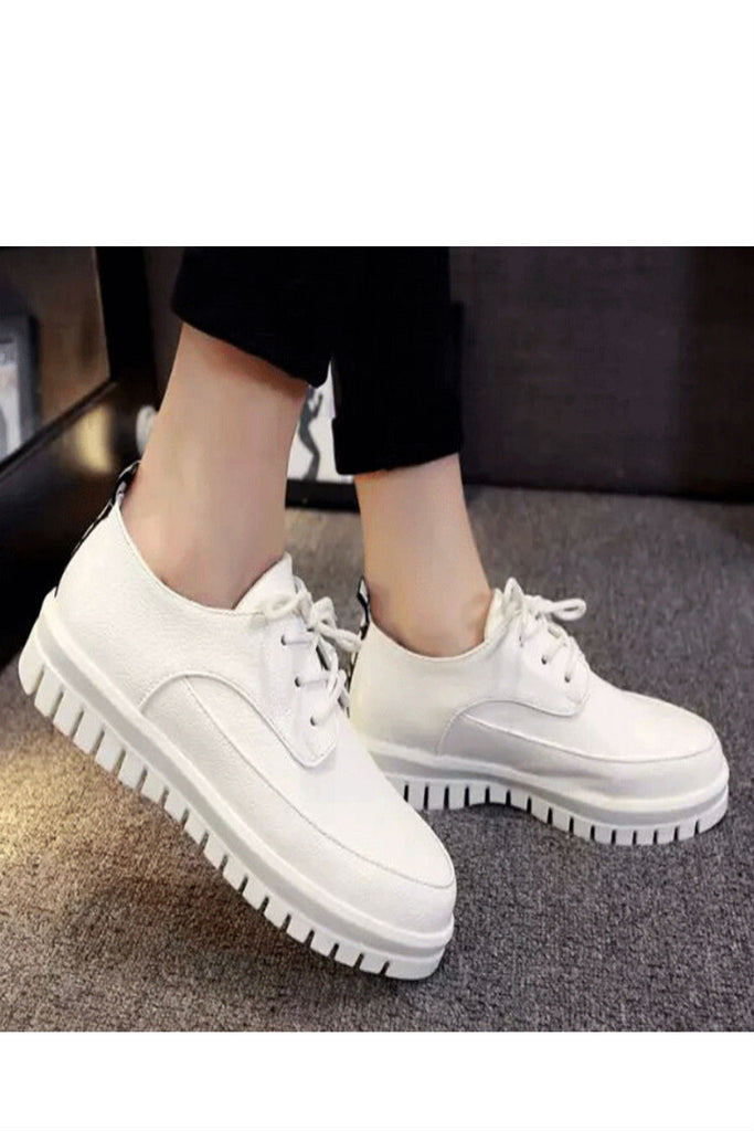White Round Toe Platform Loafers