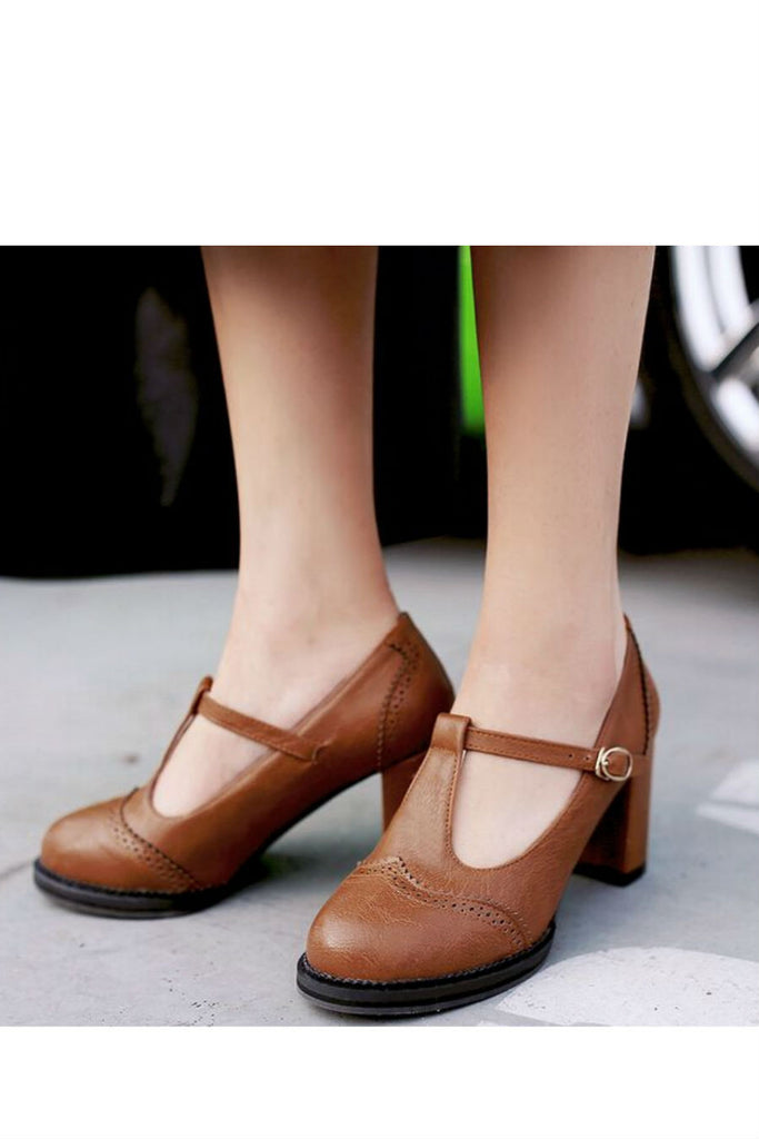 Brown T-Strap High Heel Shoes