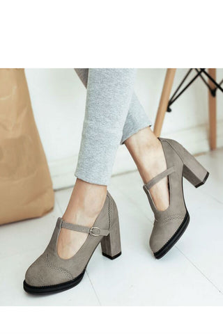 Grey T-Strap High Heel Shoes
