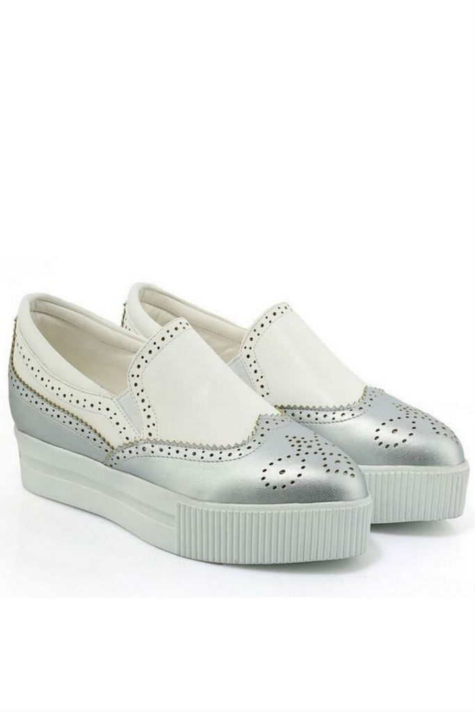 Silver And White Brogue Platform Loafers