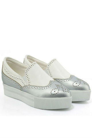 Silver Brogue Platform Sneakers