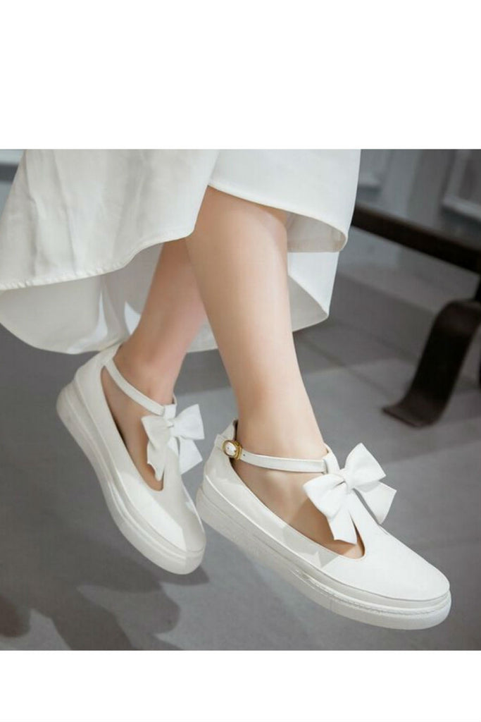 WhiteT-Strap Bow Loafers