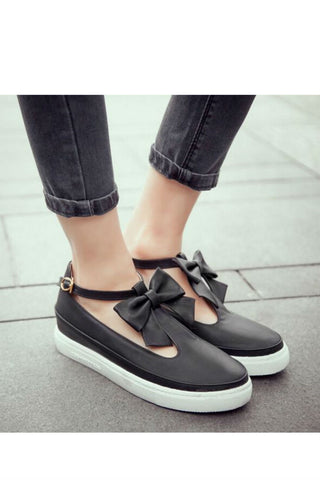 Black T-Strap Bow Shoes