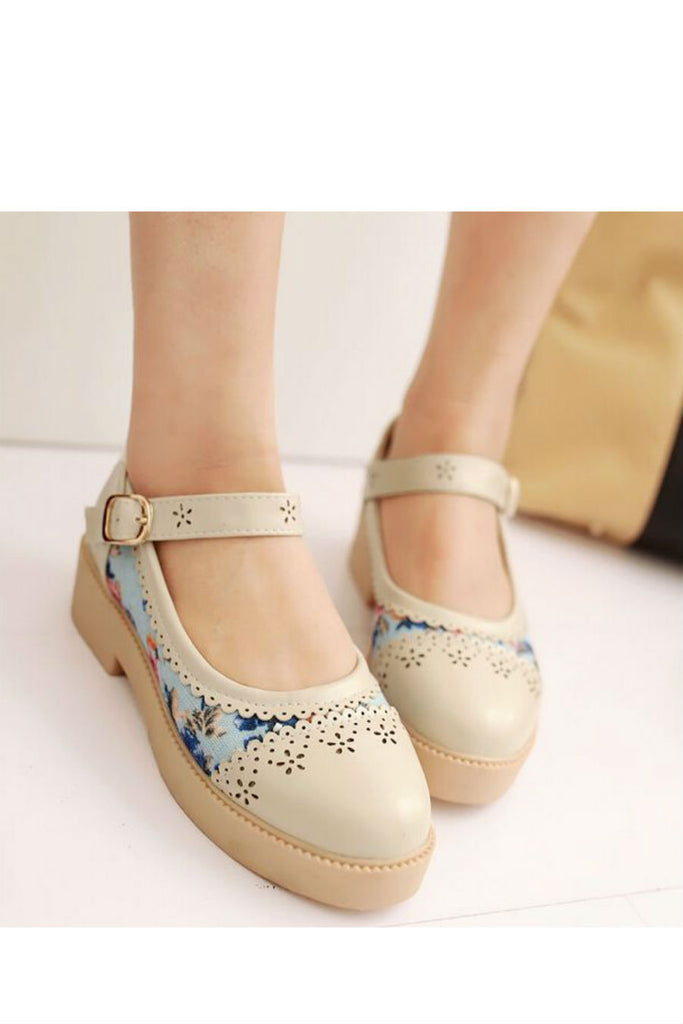 Beige Floral Cute Shoes