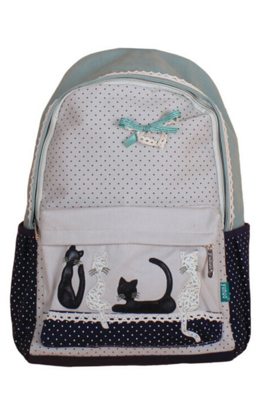 Mint Dot Lace Cat Backpack