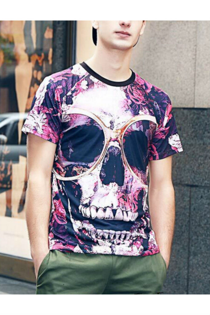 Purple Floral Skull Printed T-shirt
