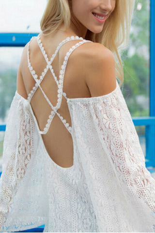 Lace Cross Back Tunic Dress
