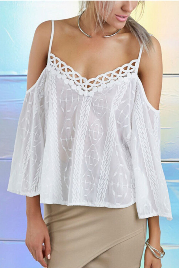 White Embroidered Chiffon Top