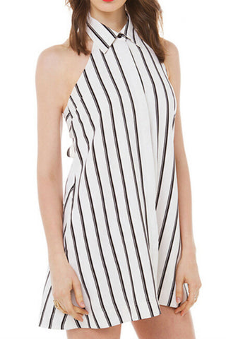 Classic Striped Backless Dress