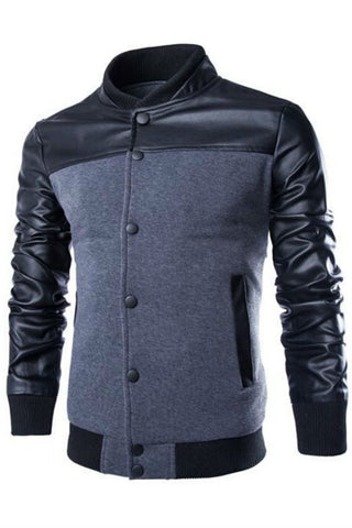 Gray Stander Collar Bomber Jacket