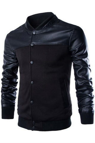 Black Stander Collar Bomber Jacket