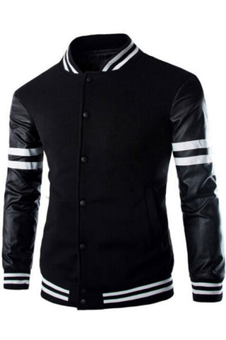 Black Leather Long Sleeve Splicing  Bomber Jacket