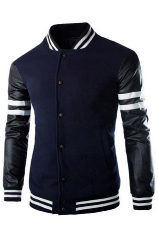 Navy Leather Long Sleeve Splicing  Bomber Jacket