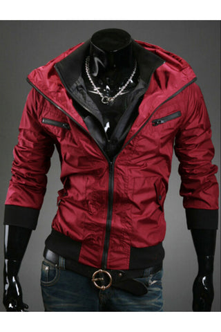 Red Zip Up Hooded Coat