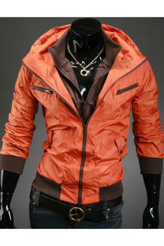 Orange Zip Up Hooded Coat