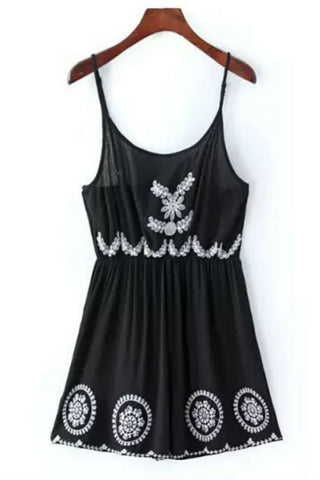 Black Ethnic Floral Embroidery Romper