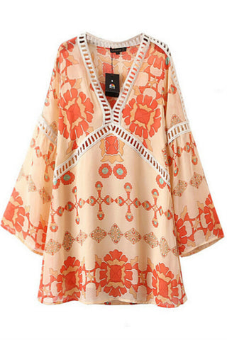 Orange Printed Chiffon Dress