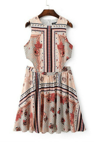 Vintage Printed Cut-off Dress