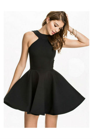 Elegant Black Halter Dress