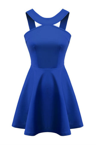 Elegant Blue Halter Dress