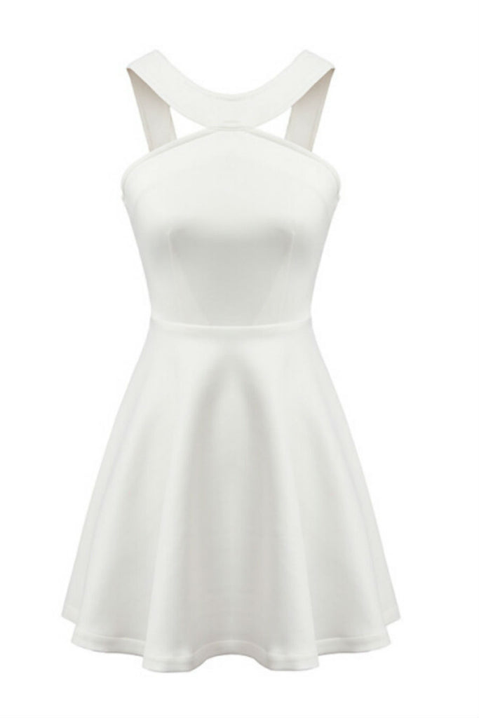 Elegant White Halter Dress