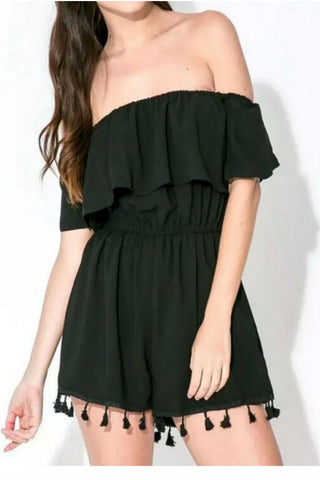 Black Tassel Off The Shoulder Romper