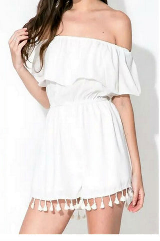 White Tassel Off The Shoulder Romper
