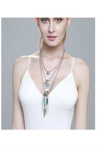 Multi-chain Feather Tassel Necklace