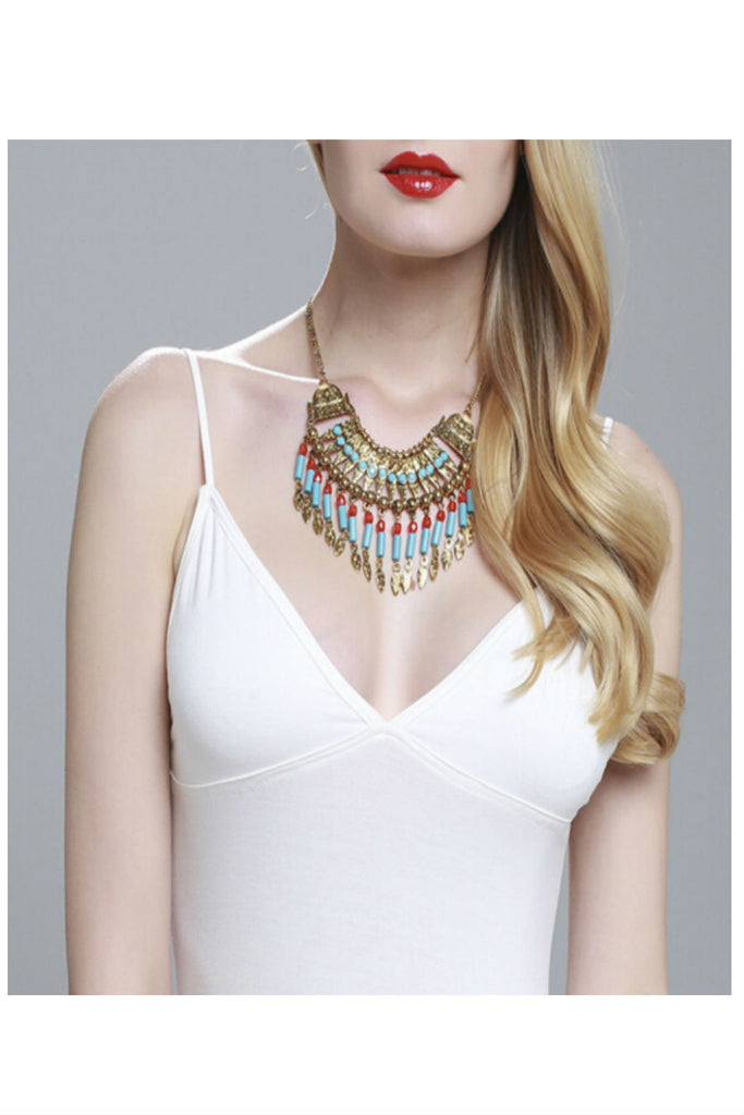 Vintage Gold Multi-chain Pendant Statement Chunky Bib Necklace Earrings Set