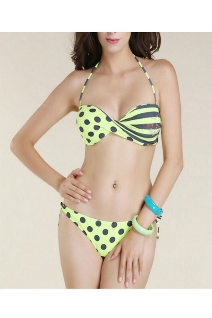 Striped Bandage Bikini Set
