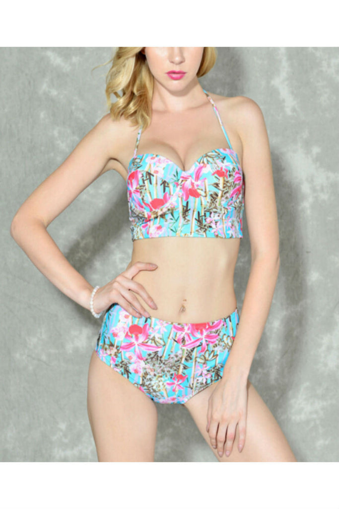Vintage High Rise Floral Printed Swimsuit