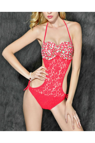 Red Lace Push-up Bathing Suit