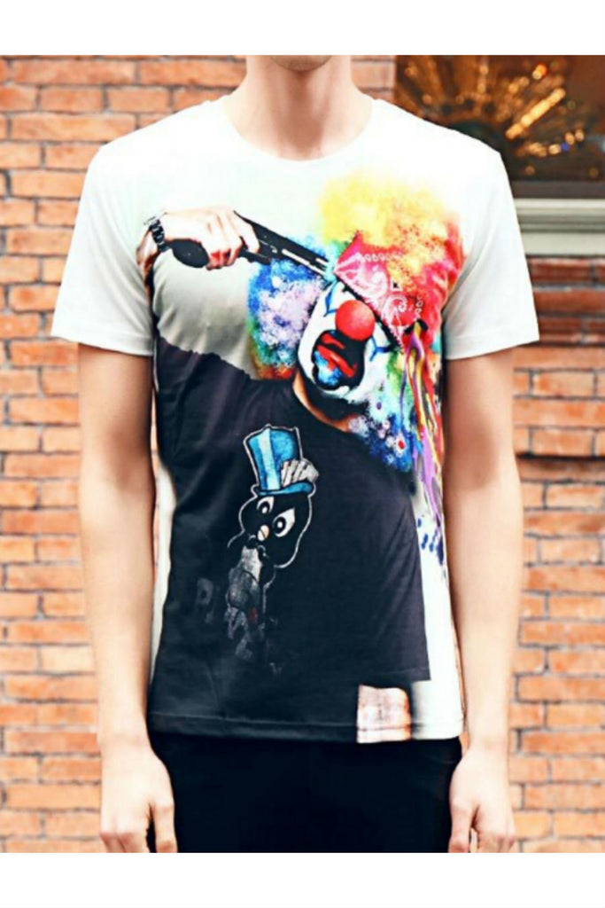 Multi-color Buffoon Printed Short Sleeve T-shirt