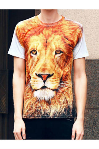 3D Lion Printed T-shirt