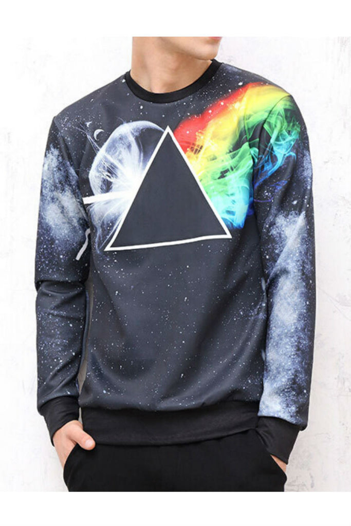 3D Galaxy Triangle Printed Sweater
