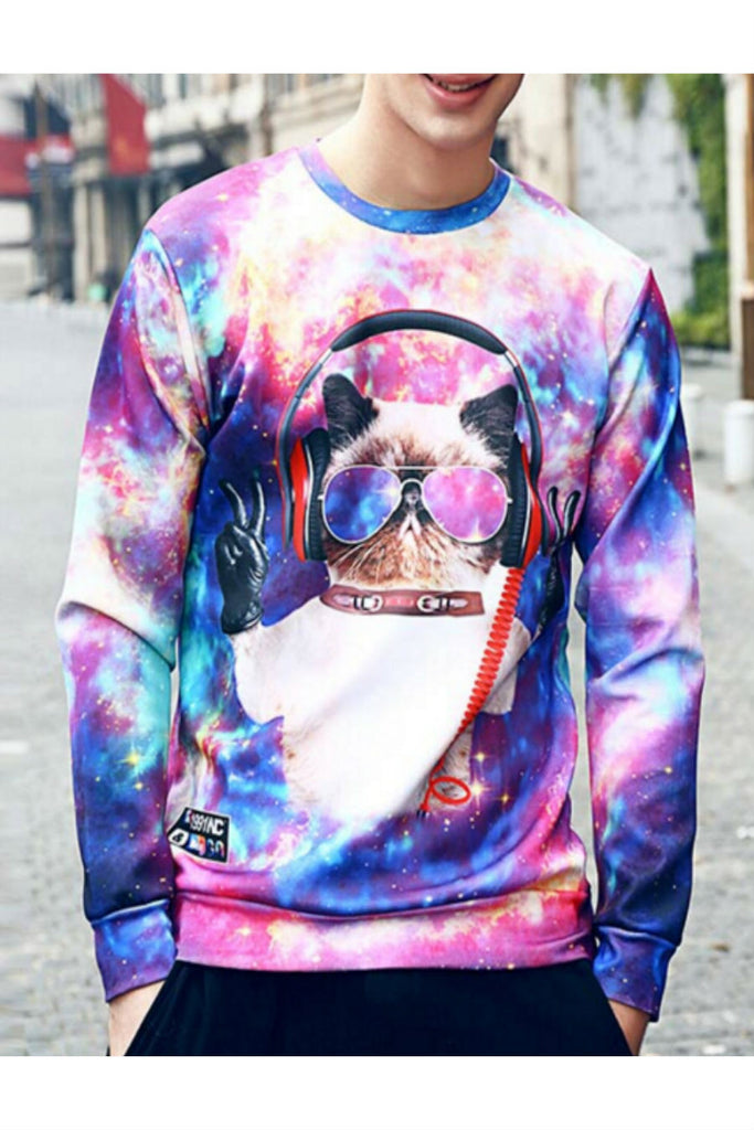 Multicolor 3D Cat Printed Sweater