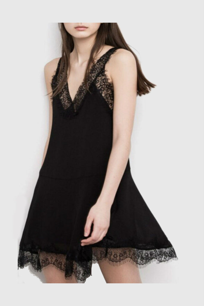 Vintage Black Lace Splicing Sleeveless Dress