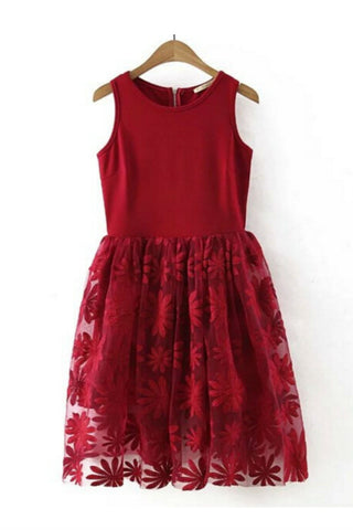 Red Floral Lace Embroidered Sleeveless Midi Dress