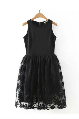 Black Floral Lace Embroidered Sleeveless Midi Dress