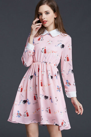 Retro Pink Cat Printed Doll Collar Midi Dress