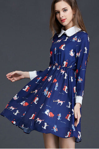 Retro Navy Cat Printed Doll Collar Midi Dress