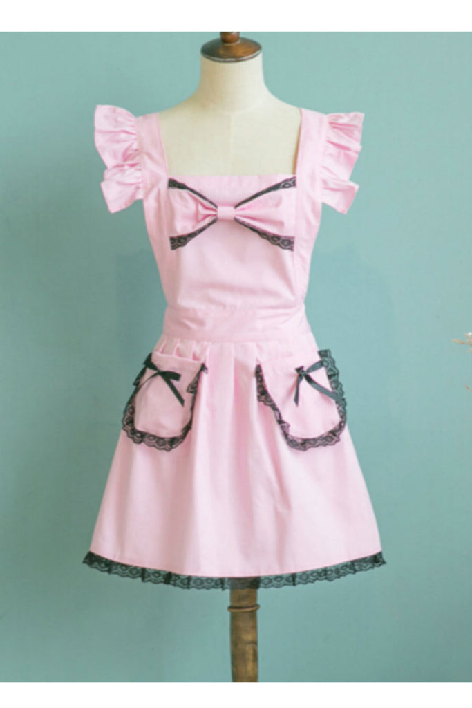 Pastel Pink Lace Bow Apron