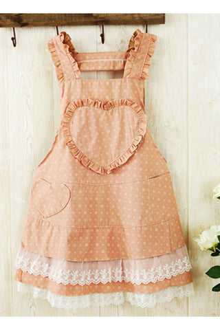 Vintage Pink Heart Lace Splicing Apron