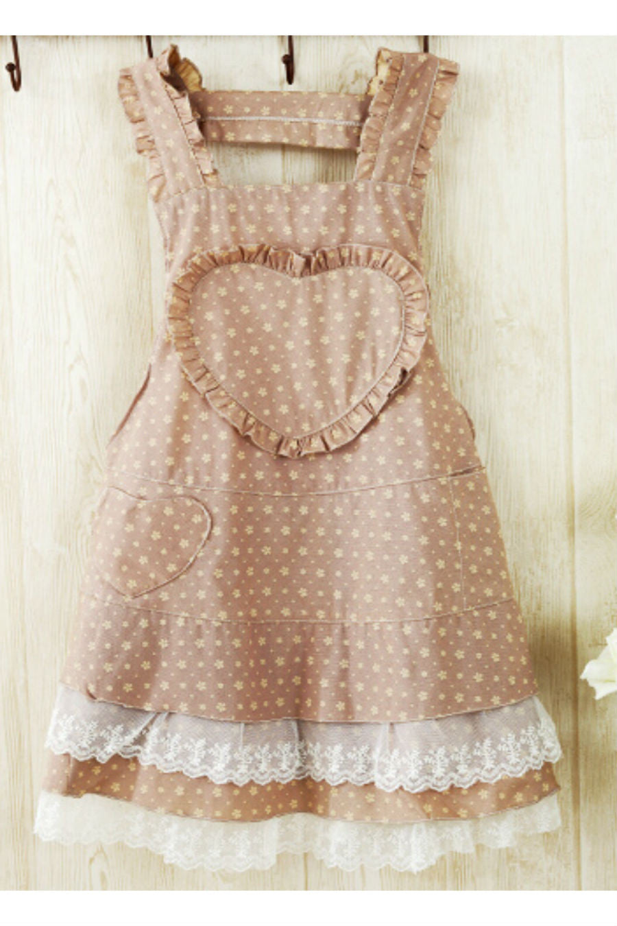 Vintage Brown Heart Lace Splicing Apron