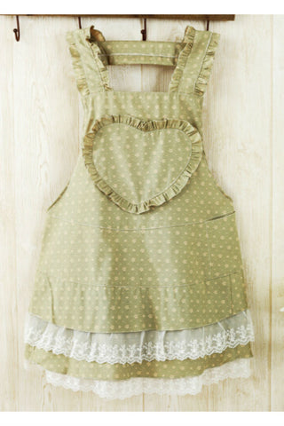 Vintage Mint Heart Lace Splicing Apron
